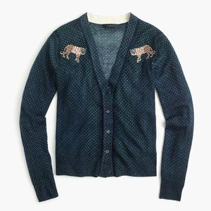 J. Crew Mens-y cardigan sweater with tiger patch